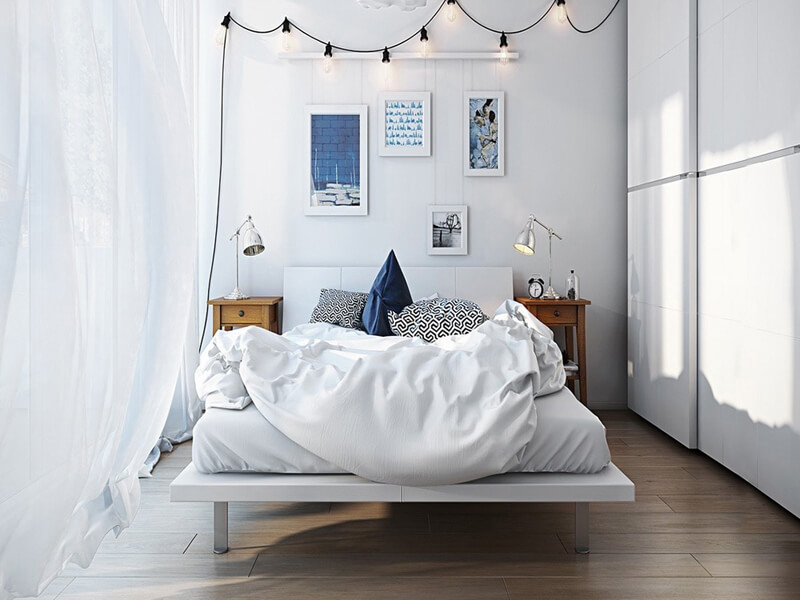 cửa sổ là 1 phần không thể thiếu cho không gian phòng ngủ Scandinavian