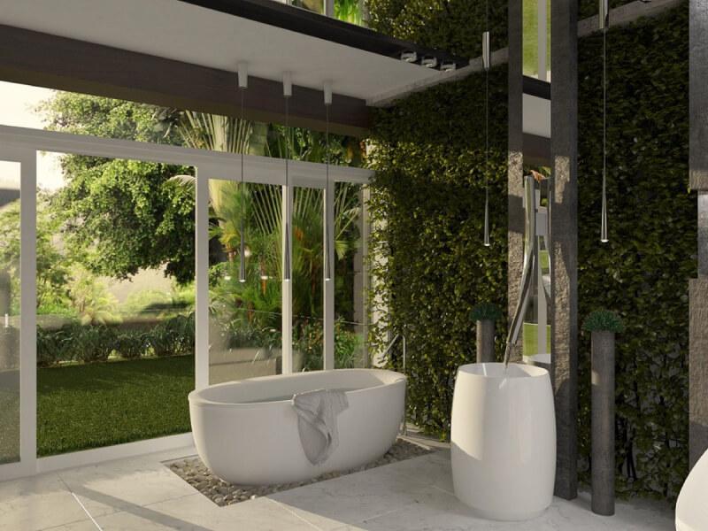 sự kết hợp hài hòa giữa màu xanh của cây cối với màu trắng của các đồ nội thất nhà tắm