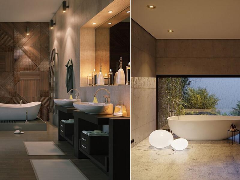 thiết kế không gian phòng tắm phong cách tối giản