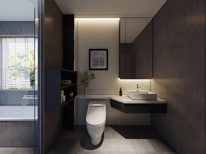phòng tắm màu đen khiến bất cứ ai cũng cảm thấy thích thú
