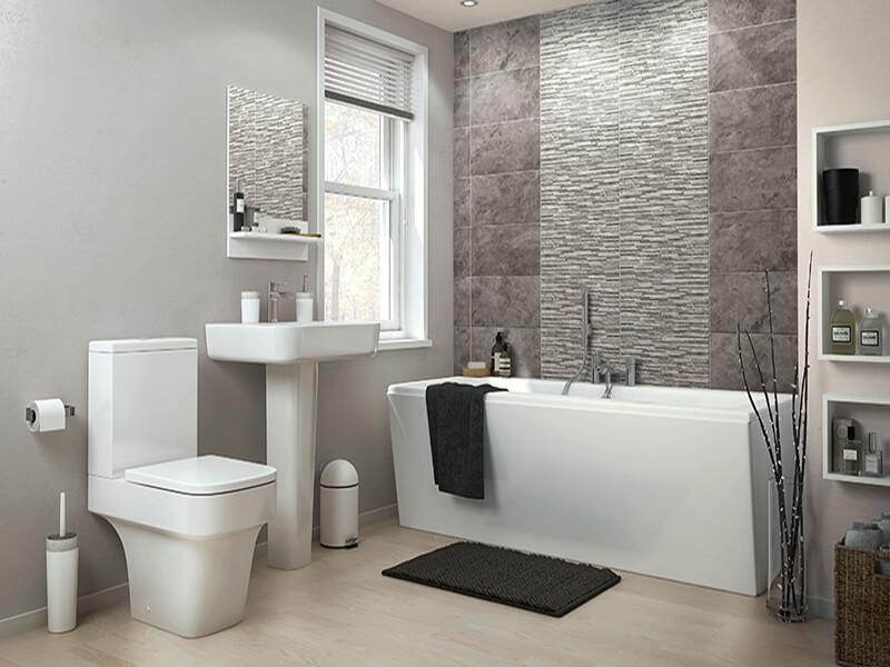 các gam màu trắng - xám giúp phòng tắm được mở rộng hơn