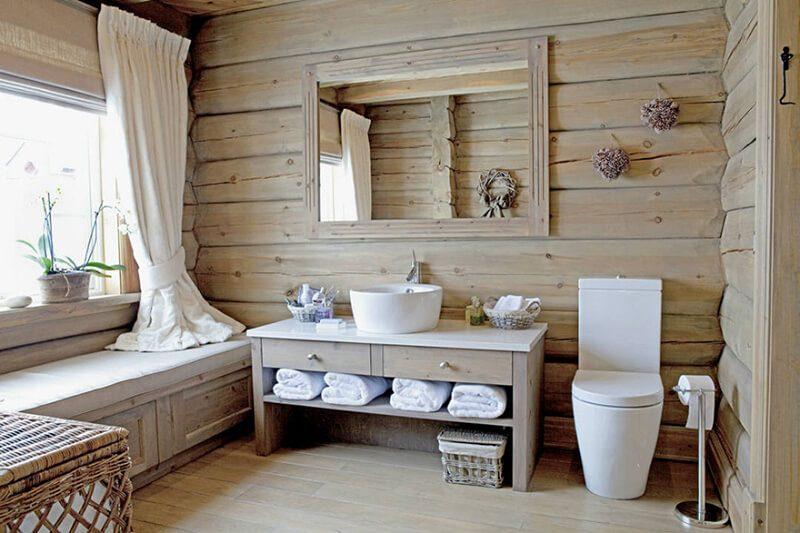 nhà tắm hiện đại ưu tiên chất liệu gỗ