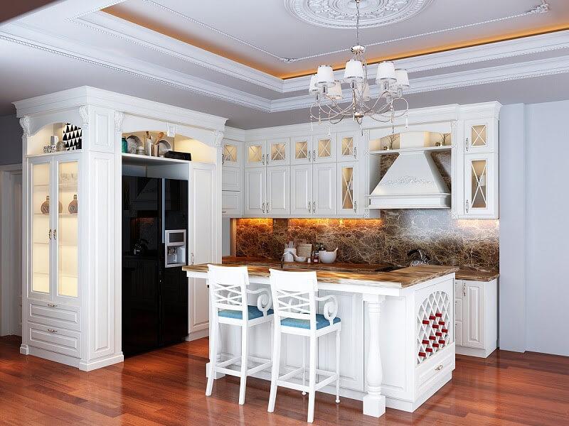 nhà bếp với vẻ đẹp cổ điển, sang trọng