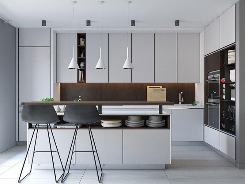 mẫu nhà bếp nhỏ tiện nghi với phong cách tối giản