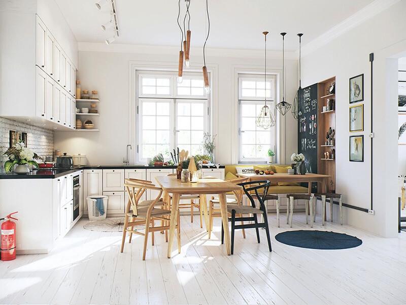 không gian nhà bếp nhỏ vô cùng tiện nghi
