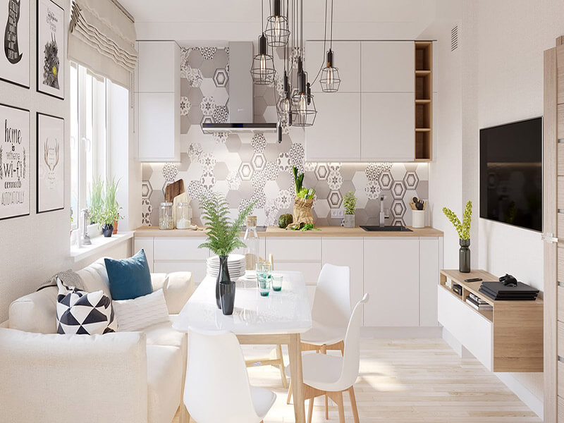 không gian nhà bếp nổi bật với không gian xanh tự nhiên
