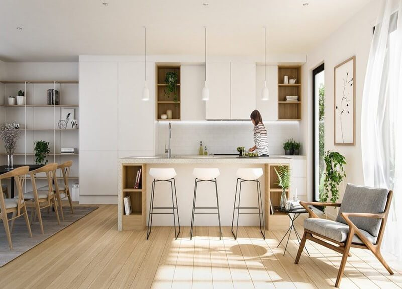 nhà bếp màu trắng khiến không gian thêm phần mở rộng