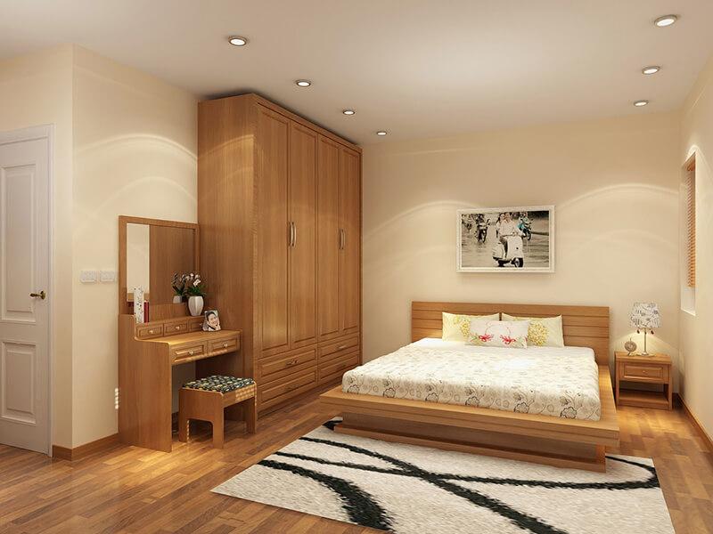 mẫu phòng ngủ bố trí tủ quần áo và bàn trang điểm hài hòa
