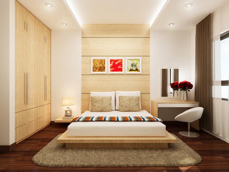 mẫu phòng ngủ hiện đại nổi bật với gam màu ấm áp