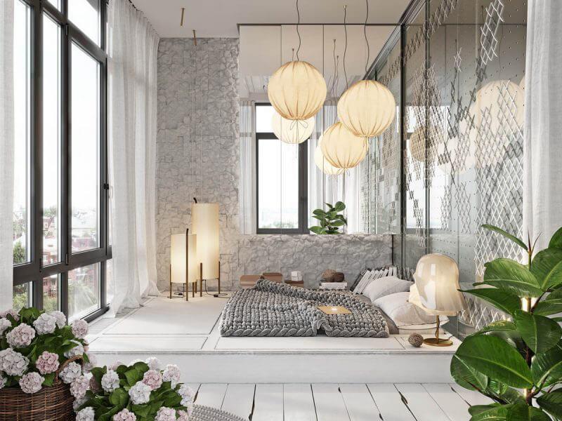 nội thất phòng ngủ hiện đại không có giường