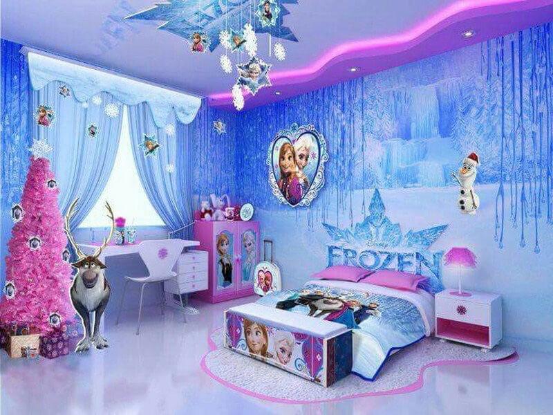 phòng ngủ bé gái cực sáng tạo với các nhân vật hoạt hình