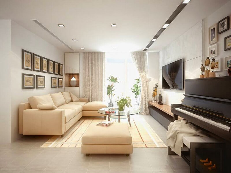 mẫu phòng khách ấn tượng hài hòa giữa ánh sáng và màu sắc