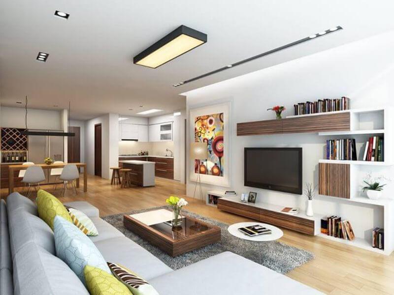 mẫu phòng khách chung cư phong cách hiện đại