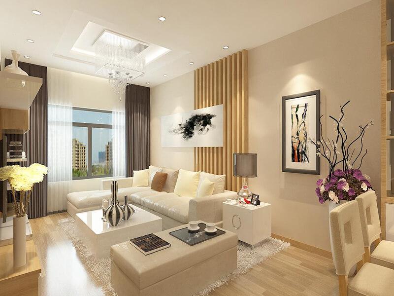 không gian phòng khách tuy đơn giản nhưng vẫn có những điểm nhấn ấn tượng