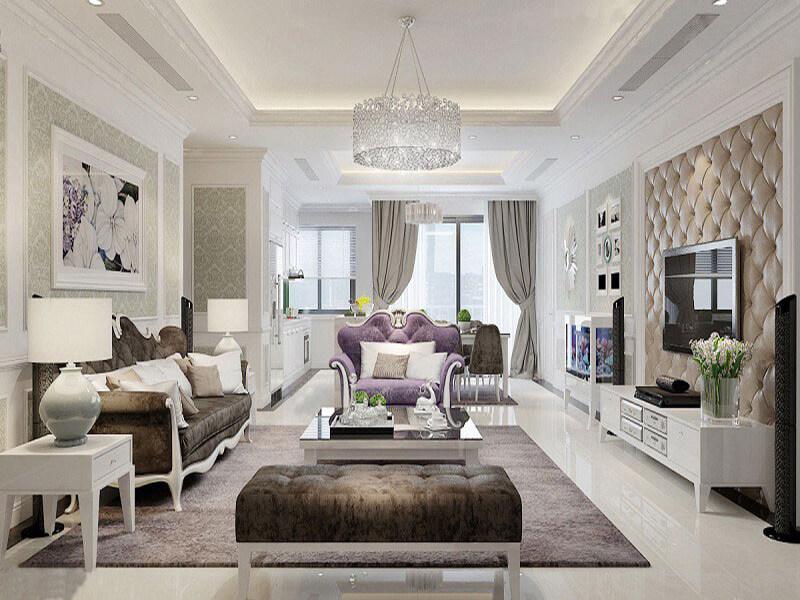 sự kết hợp hài hòa giữa ánh sáng - màu sắc - nội thất của không gian phòng khách