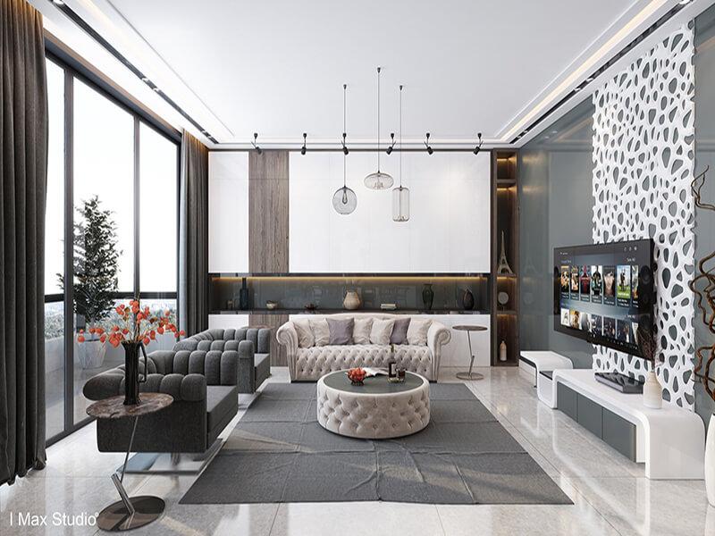 Một phòng khách tận dụng tối đa ánh sáng tự nhiên