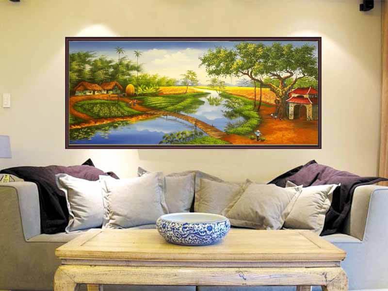 tranh sơn thủy hữu tình phù hợp với gia chủ yêu thiên nhiên