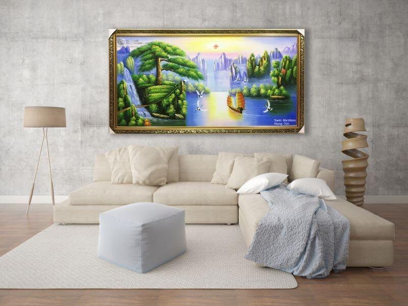 tranh phong thủy giúp phòng khách tăng tính thẩm mỹ