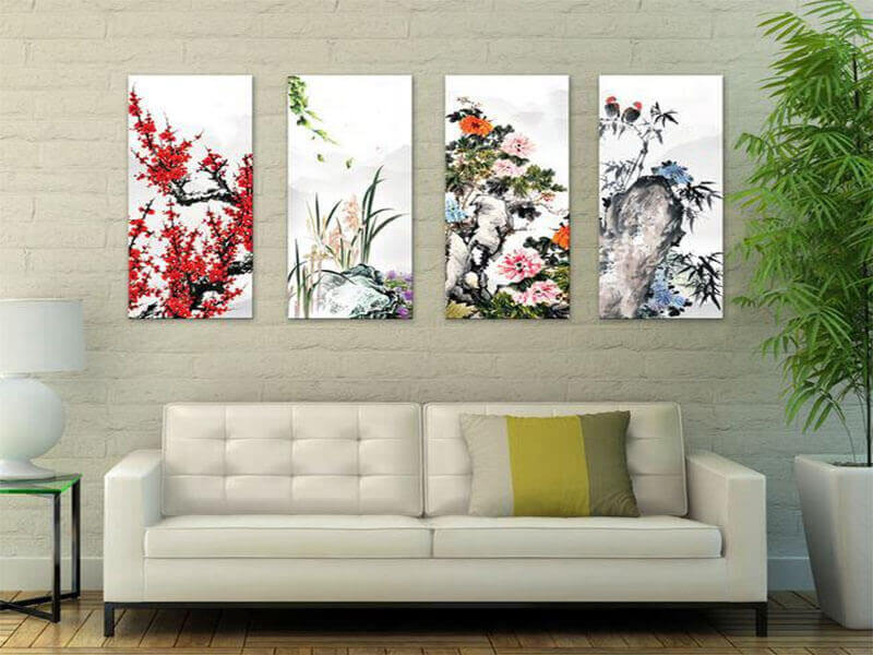 các loại hoa mẫu đơn, hoa lan, hoa sen rất hợp với không gian phòng khách