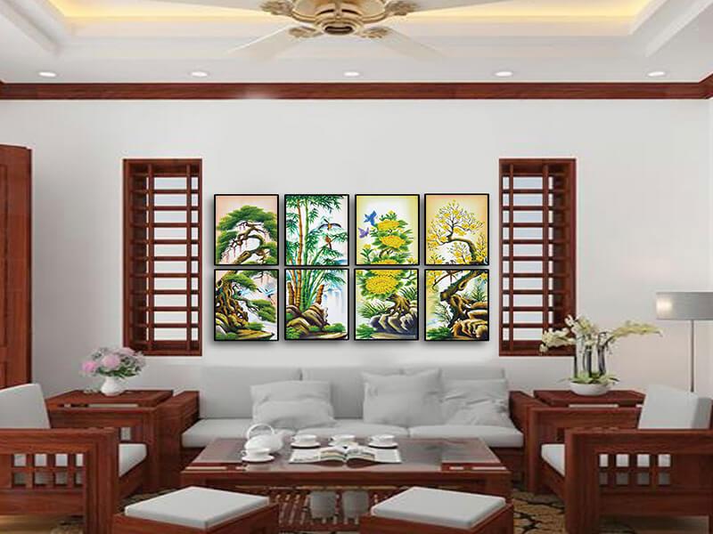 Treo tranh Tứ quý theo kích thước, chiều cao bức tranh so với phòng