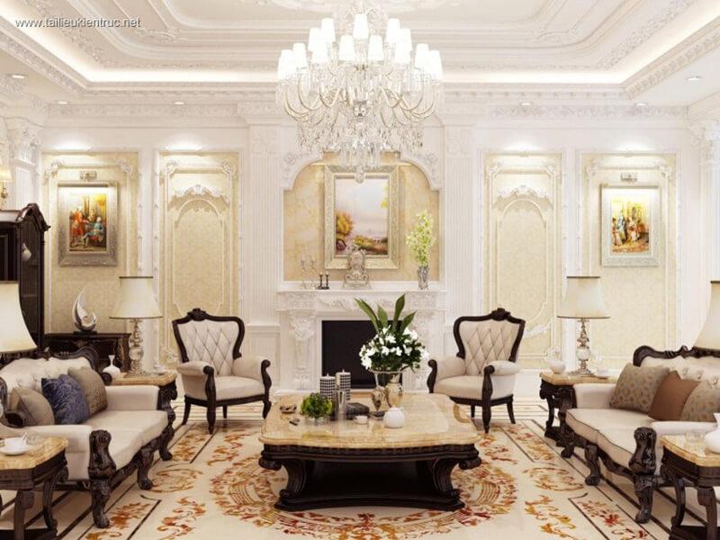 vẻ đẹp hoàn hảo của mẫu phòng khách tân cổ điển