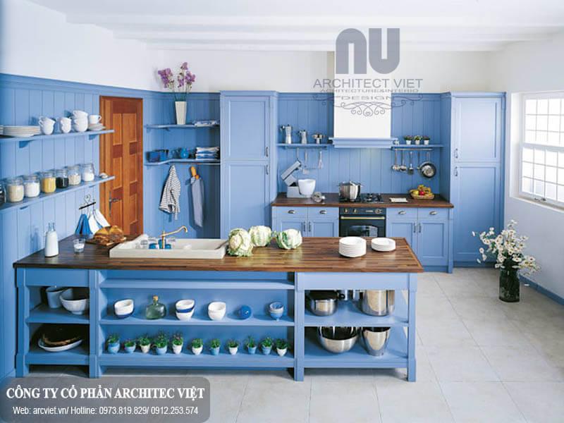 màu xanh trang trí cho phòng bếp người mạng Thủy