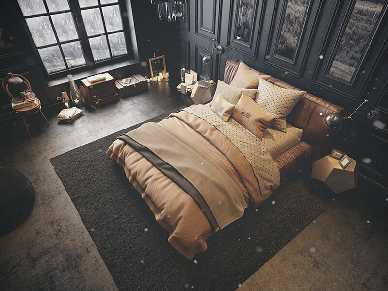 không gian phòng ngủ sang chảnh của phái mạnh