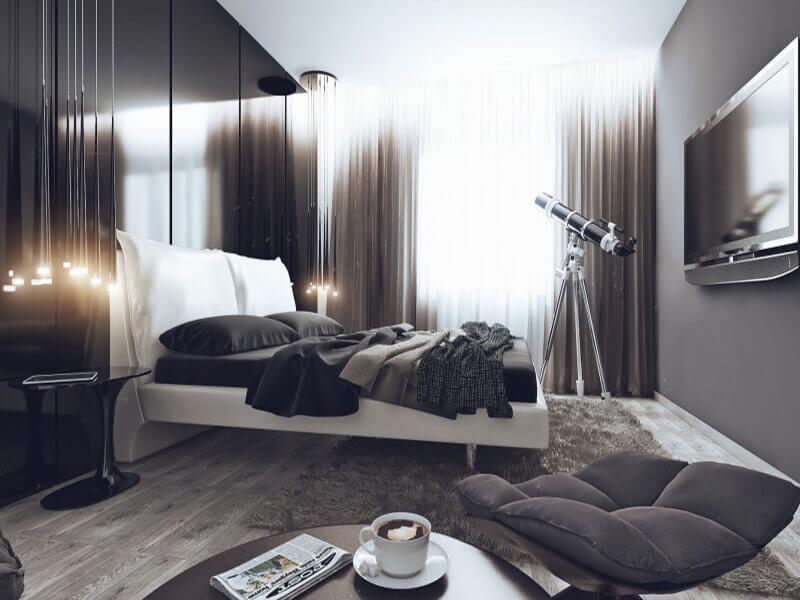 bố trí nội thất hoàn hảo trong phòng ngủ đẹp cho nam