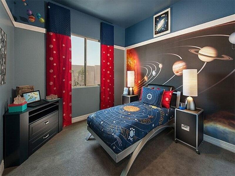 phong cách hiện đại Mid – century khiến phòng ngủ nam trở nên đầy ấn tượng