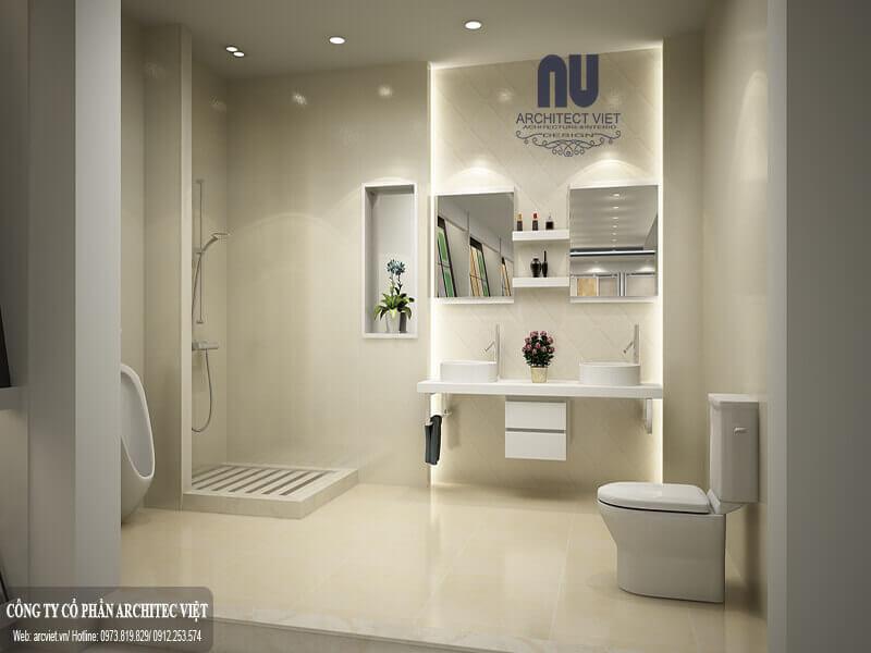 tránh để khu vực vệ sinh chung với phòng bếp