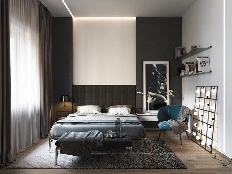 thiết kế phòng ngủ màu đen cực sáng tạo