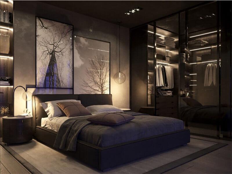 sự hiện đại của phòng ngủ màu đen