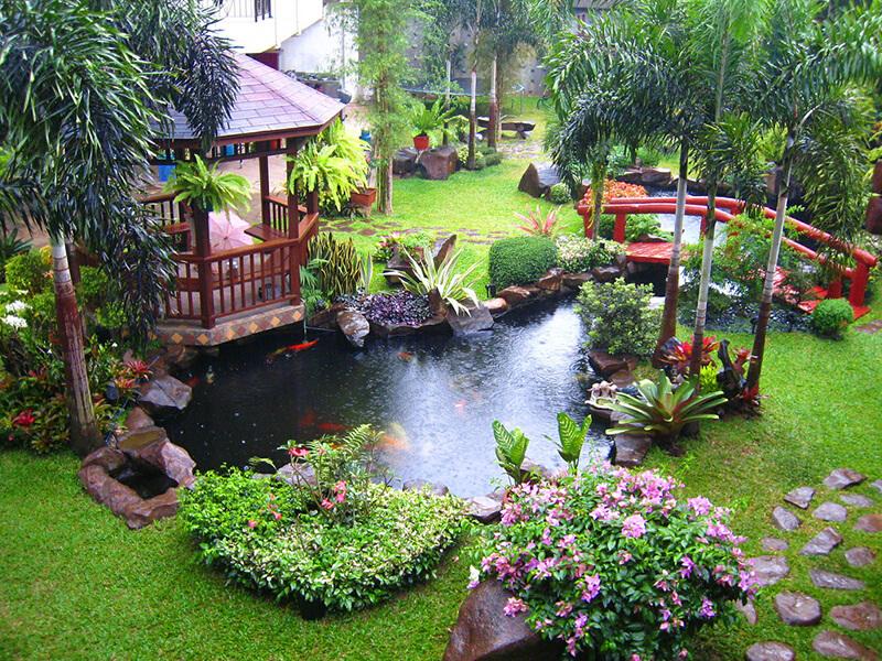 Bố trí không gian sân vườn kiểu Nhật phù hợp với thời tiết