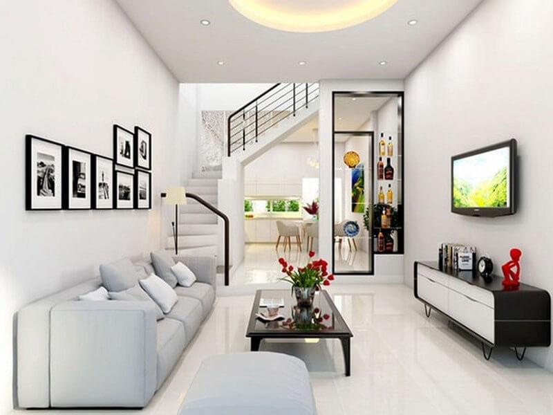 sự kết hợp giữa ánh sáng và màu sắc giúp phòng khách thêm nổi bật