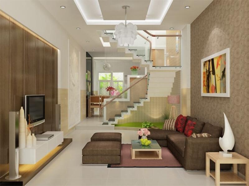 không gian phòng khách thiết kế theo phong cách hiện đại