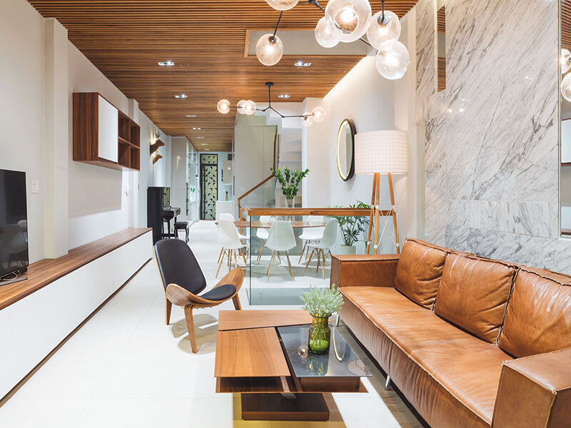 phòng khách thiết kế theo phong cách hiện đại thiên về sự đơn giản
