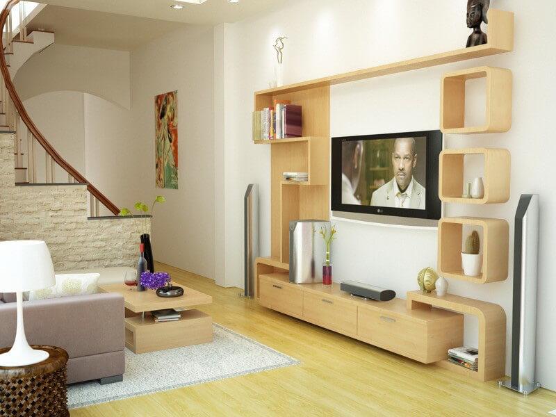 kệ tivi bằng gỗ tô điểm không gian phòng khách