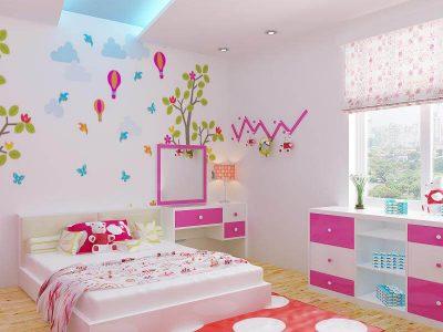 màu hồng, cam nhạt nhẹ nhàng rất phù hợp cho phòng ngủ của bé gái