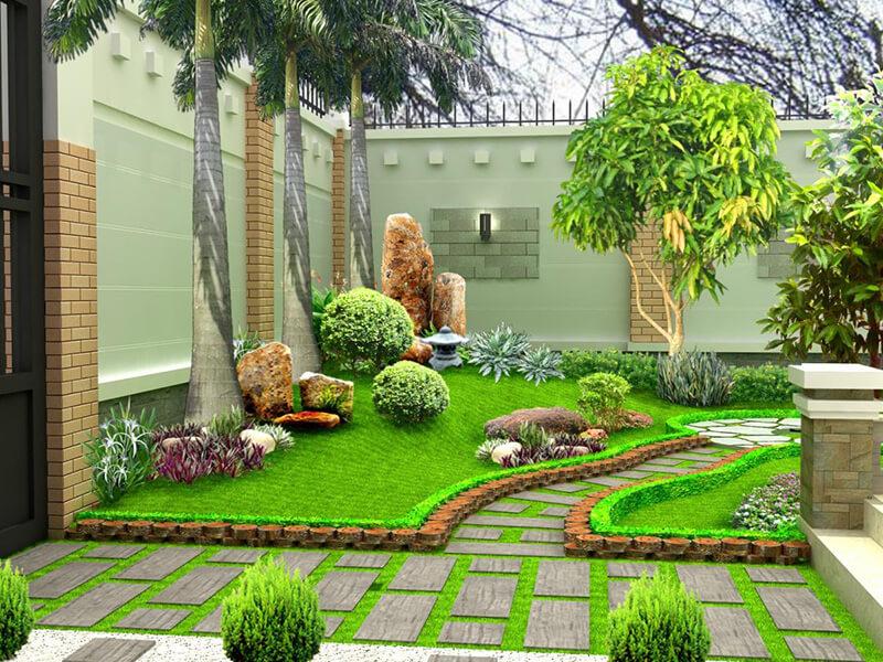 vẻ đẹp hài hòa trong mẫu sân vườn nhỏ tinh tế