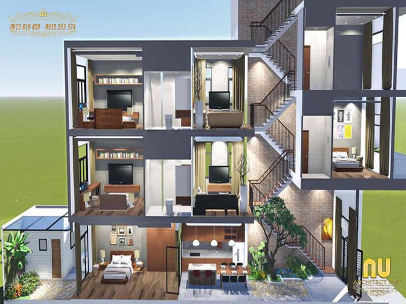 đặc điểm kiến trúc nhà lệch tầng