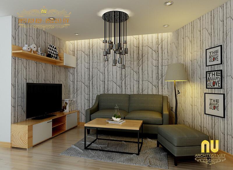 mẫu phòng khách nhỏ nhưng vẫn đảm bảo các chức năng sinh hoạt cần thiết cho gia đình