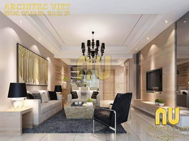 Thiết kế phòng khách biệt thự theo phong cách hiện đại