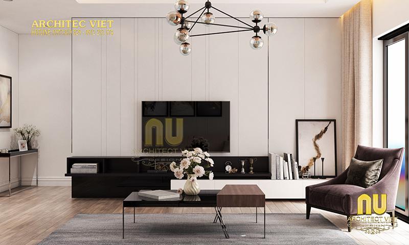 Thiết kế phòng khách hiện đại tối giản
