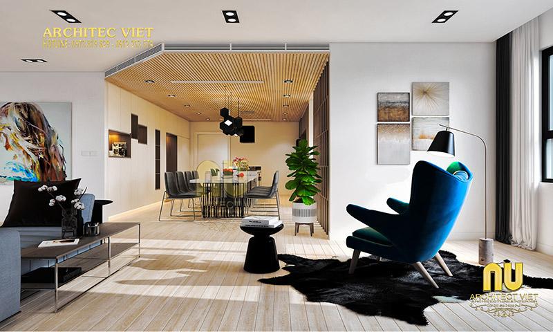 Thiết kế phòng khách sang trọng với tone màu ấm áp