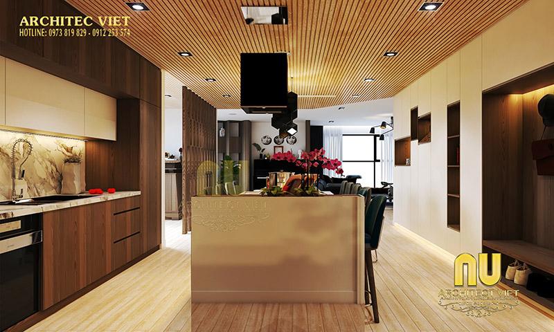 Thiết kế phòng bếp với hệ thống đèn chiếu sáng hợp lý