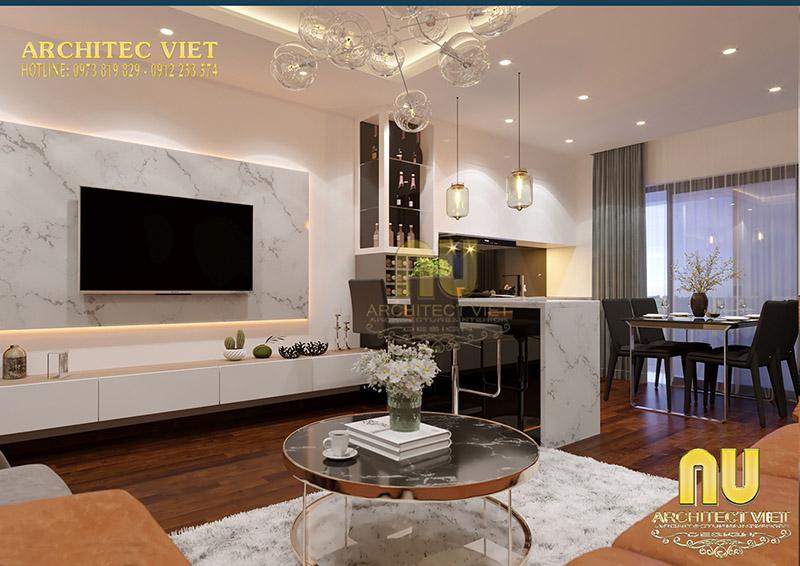 Thiết kế phòng khách liền bếp tăng diện tích sử dụng