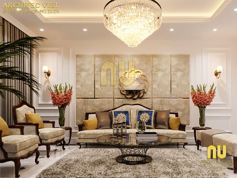 Thiết kế phòng khách tân cổ điển với hoa văn tinh xảo