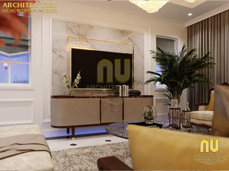 Không gian phòng khách tân cổ điển đơn giản nhưng tinh tế