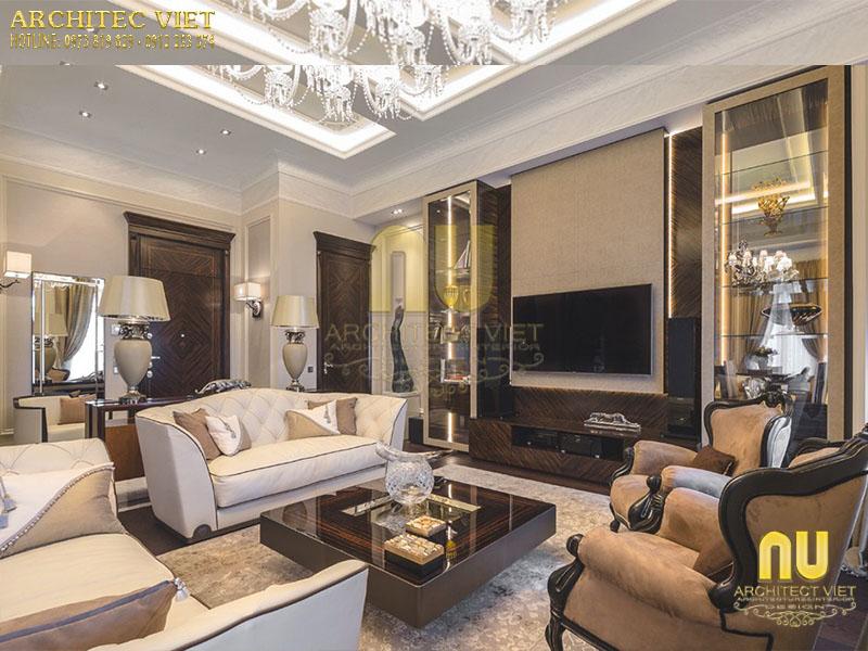 Thiết kế không gian phòng khách trang nhã sang trọng