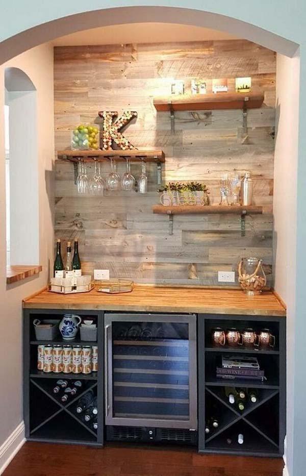 Thiết kế quầy bar ở góc tường đẹp